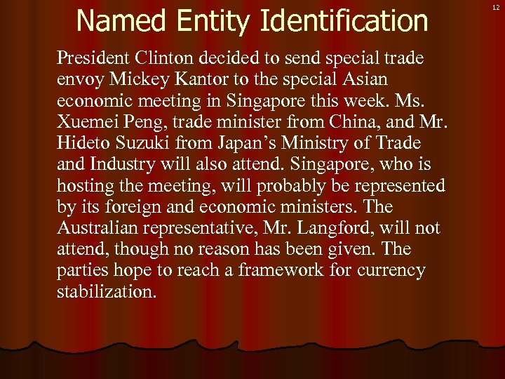 Named Entity Identification President Clinton decided to send special trade envoy Mickey Kantor to