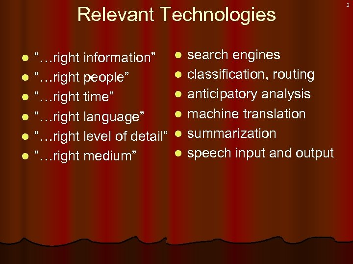 "Relevant Technologies l l l ""…right information"" ""…right people"" ""…right time"" ""…right language"" ""…right"