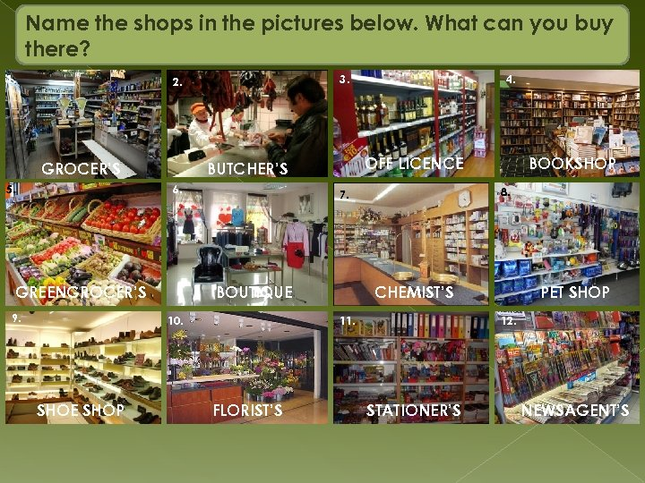 Name the shops in the pictures below. What can you buy there? 1. 3.
