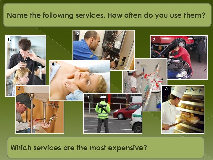 Name the following services. How often do you use them? 2. . 1. 3.