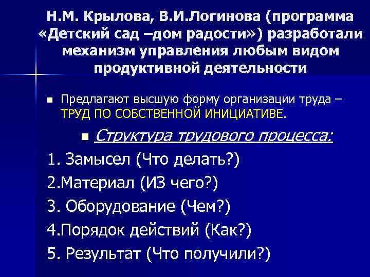 Н. М. Крылова, В. И. Логинова (программа «Детский сад –дом радости» ) разработали механизм