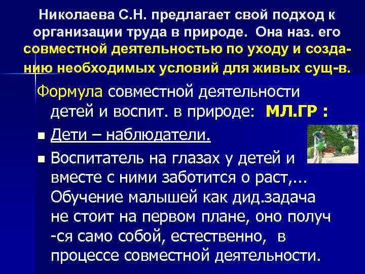 Николаева С. Н. предлагает свой подход к организации труда в природе. Она наз. его