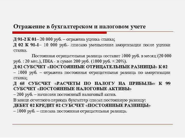 Отражение в бухгалтерском и налоговом учете Д 91 -2 К 01– 20 000 руб.