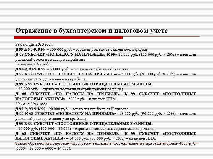Отражение в бухгалтерском и налоговом учете 31 декабря 2010 года Д 99 К 90