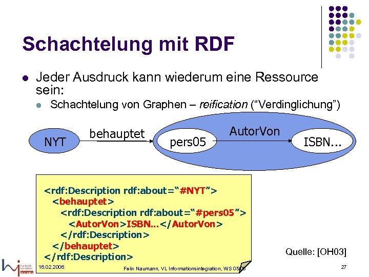 Schachtelung mit RDF l Jeder Ausdruck kann wiederum eine Ressource sein: l Schachtelung von