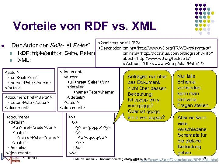 """Vorteile von RDF vs. XML l """"Der Autor der Seite ist Peter"""" l l"""