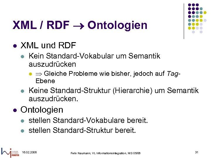 XML / RDF Ontologien l XML und RDF l Kein Standard-Vokabular um Semantik auszudrücken