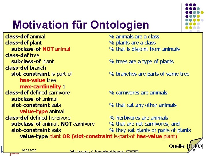 Motivation für Ontologien class-def animal % animals are a class-def plant % plants are