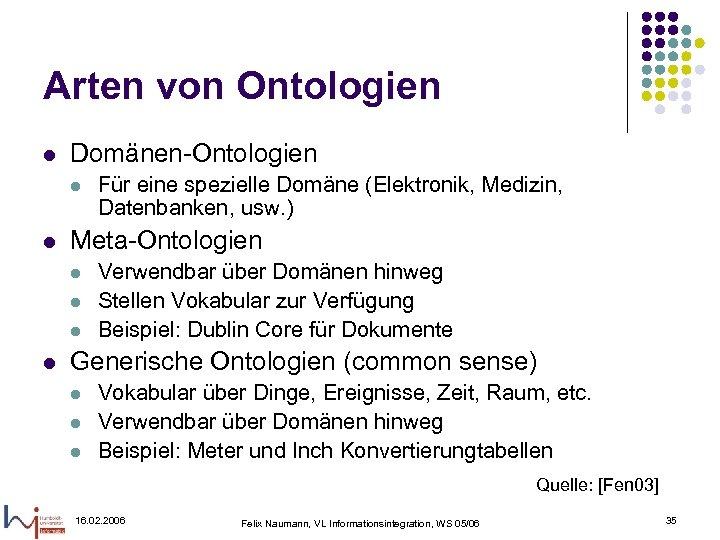 Arten von Ontologien l Domänen-Ontologien l l Meta-Ontologien l l Für eine spezielle Domäne