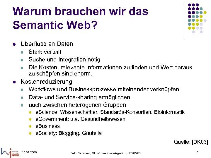 Warum brauchen wir das Semantic Web? l l Überfluss an Daten l Stark verteilt