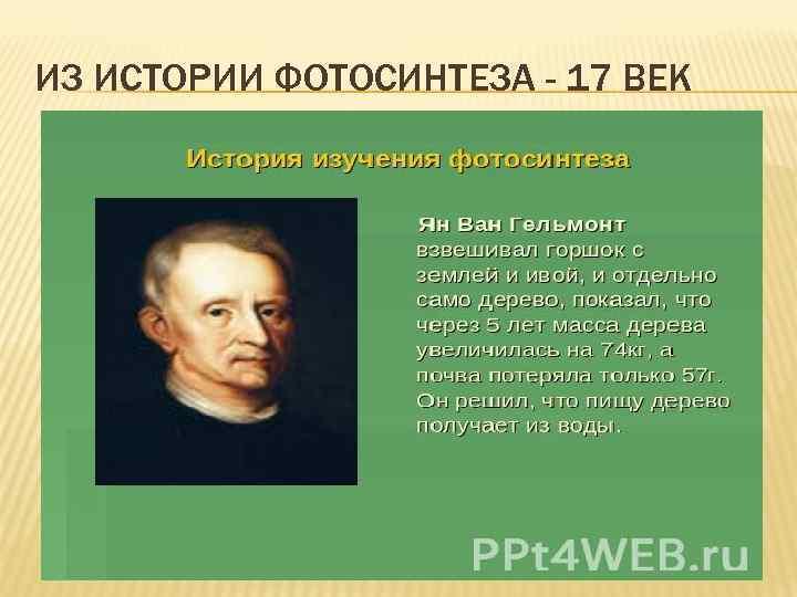 ИЗ ИСТОРИИ ФОТОСИНТЕЗА - 17 ВЕК