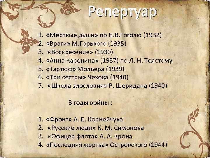 Репертуар 1. 2. 3. 4. 5. 6. 7. «Мёртвые души» по Н. В. Гоголю