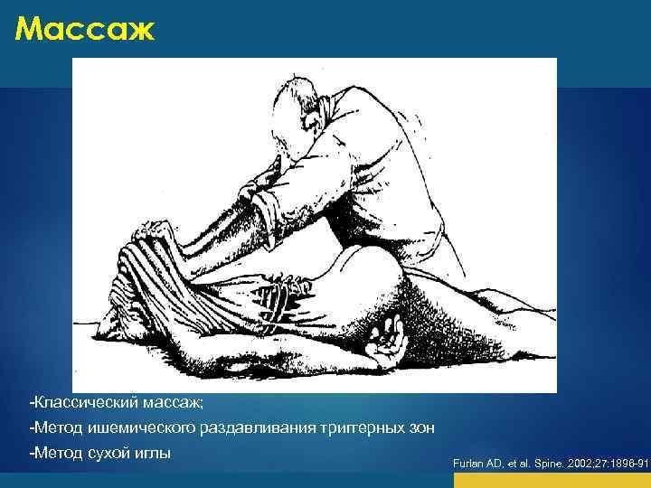Массаж -Классический массаж; -Метод ишемического раздавливания триггерных зон -Метод сухой иглы Furlan AD, et