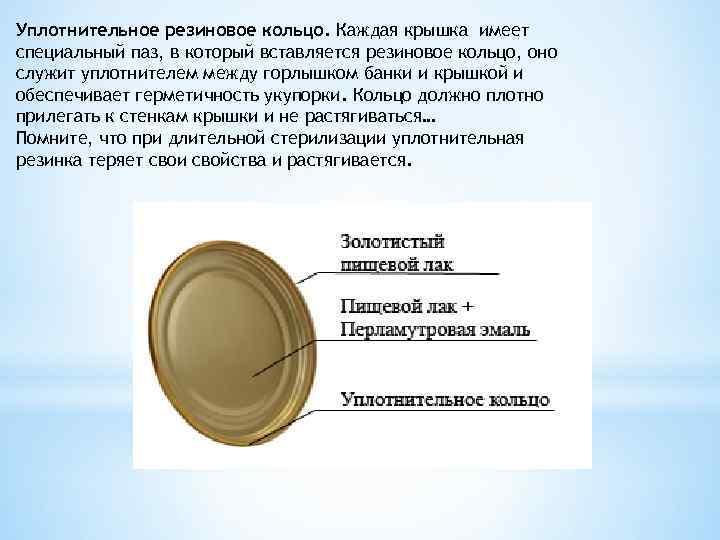 Уплотнительное резиновое кольцо. Каждая крышка имеет специальный паз, в который вставляется резиновое кольцо, оно
