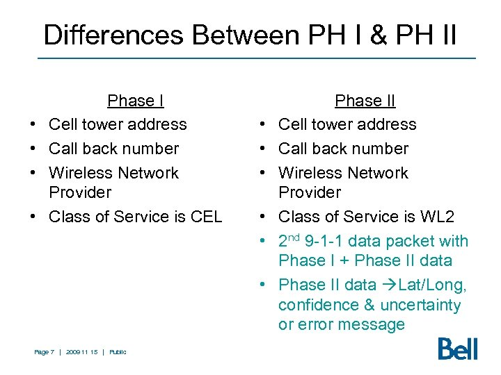 Differences Between PH I & PH II • • Phase I Cell tower address