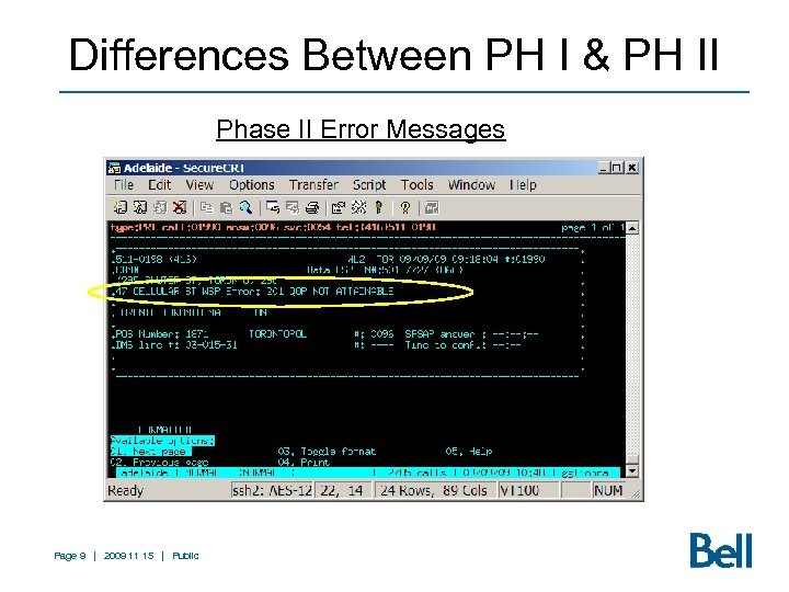 Differences Between PH I & PH II Phase II Error Messages Page 9 |