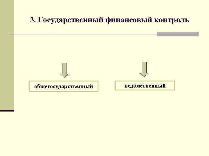 3. Государственный финансовый контроль общегосударственный ведомственный