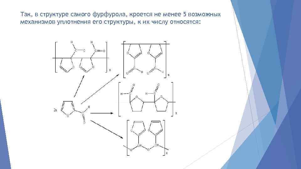 Так, в структуре самого фурфурола, кроется не менее 5 возможных механизмов уплотнения его структуры,