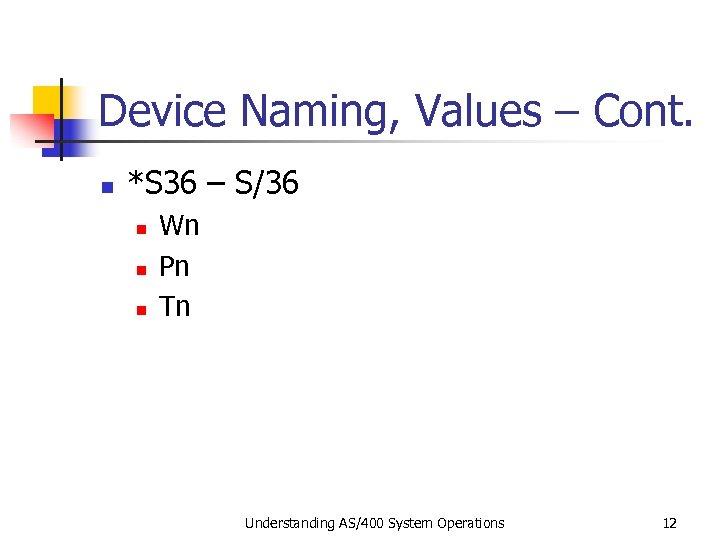 Device Naming, Values – Cont. n *S 36 – S/36 n n n Wn