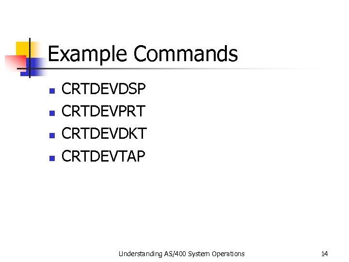Example Commands n n CRTDEVDSP CRTDEVPRT CRTDEVDKT CRTDEVTAP Understanding AS/400 System Operations 14