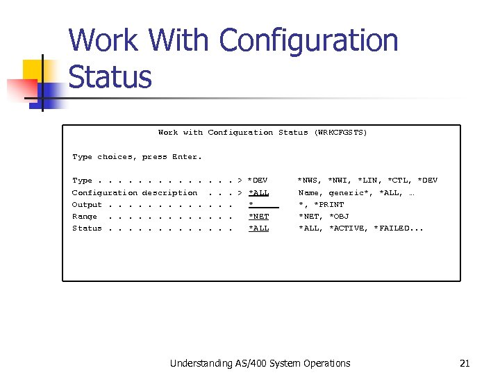 Work With Configuration Status Work with Configuration Status (WRKCFGSTS) Type choices, press Enter. Type.