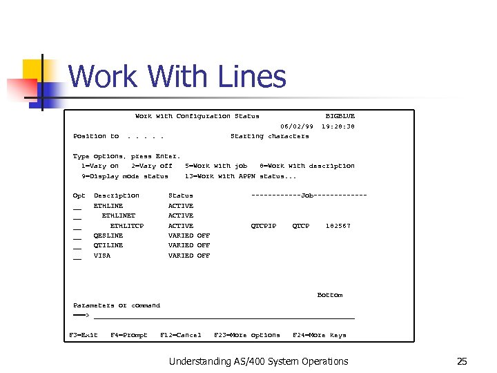 Work With Lines Work with Configuration Status BIGBLUE 06/02/99 19: 28: 38 Position to