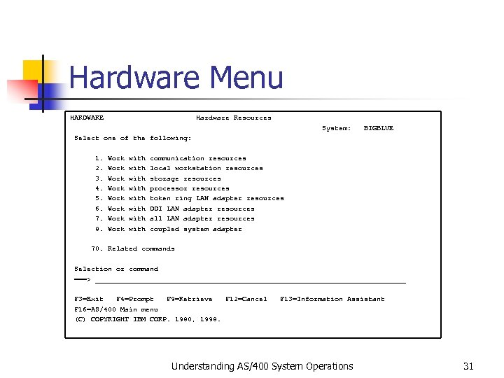 Hardware Menu HARDWARE Hardware Resources System: BIGBLUE Select one of the following: 1. Work