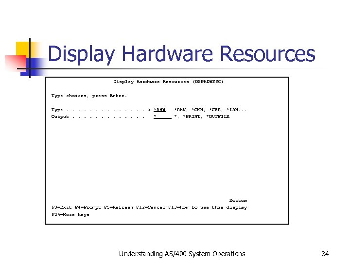 Display Hardware Resources (DSPHDWRSC) Type choices, press Enter. Type. . . > *AHW, *CMN,