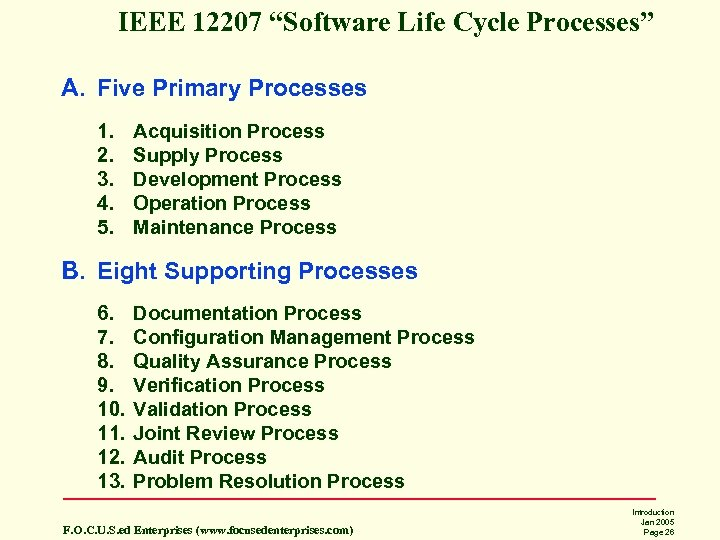 "IEEE 12207 ""Software Life Cycle Processes"" A. Five Primary Processes 1. 2. 3. 4."