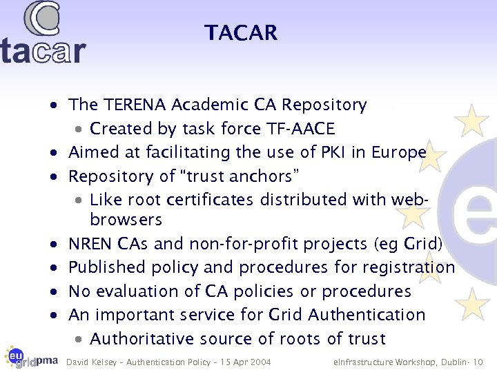 TACAR · The TERENA Academic CA Repository · Created by task force TF-AACE ·