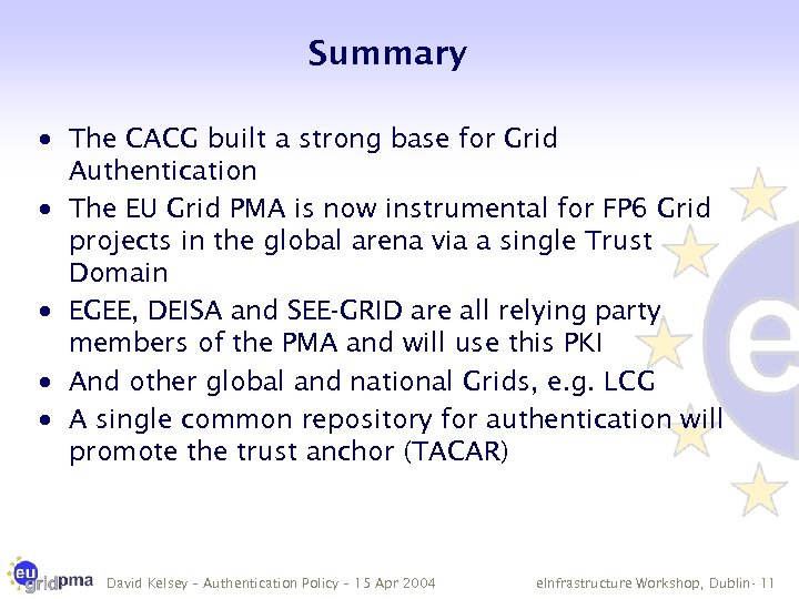 Summary · The CACG built a strong base for Grid Authentication · The EU