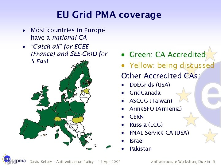 EU Grid PMA coverage · Most countries in Europe have a national CA ·