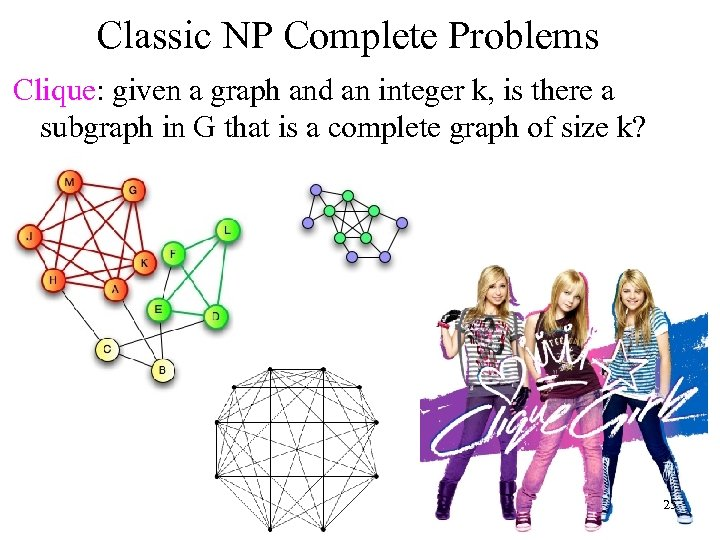 Classic NP Complete Problems Clique: given a graph and an integer k, is there