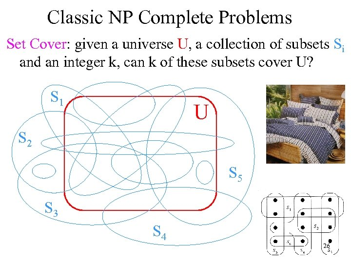 Classic NP Complete Problems Set Cover: given a universe U, a collection of subsets