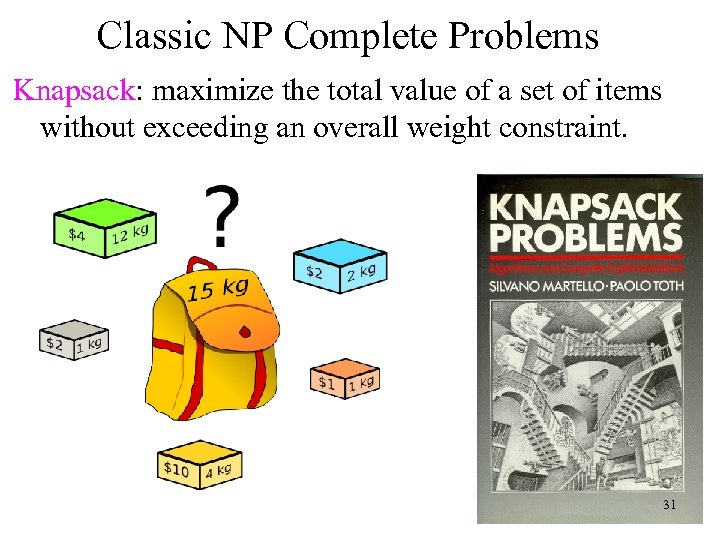 Classic NP Complete Problems Knapsack: maximize the total value of a set of items