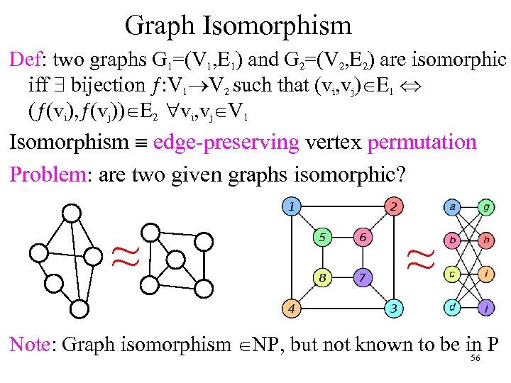 Graph Isomorphism Def: two graphs G 1=(V 1, E 1) and G 2=(V 2,