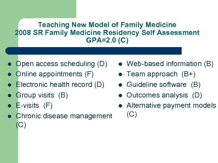 Teaching New Model of Family Medicine 2008 SR Family Medicine Residency Self Assessment GPA=2.