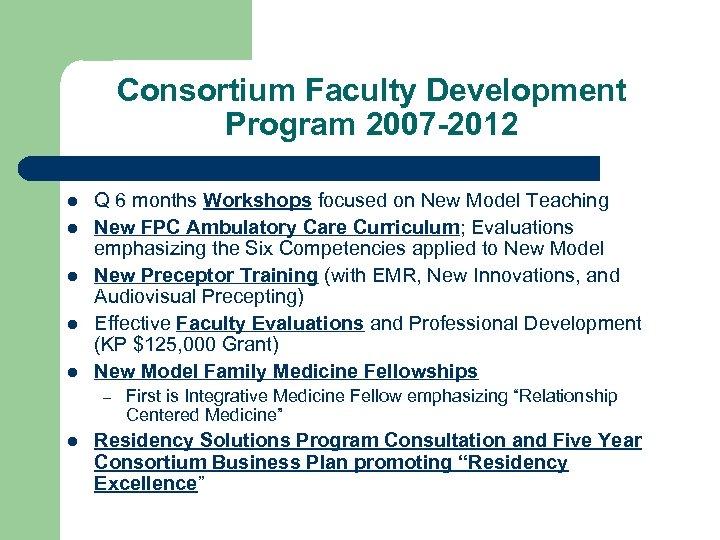 Consortium Faculty Development Program 2007 -2012 l l l Q 6 months Workshops focused