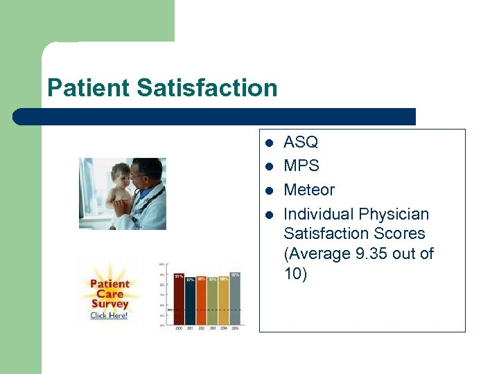 Patient Satisfaction l l ASQ MPS Meteor Individual Physician Satisfaction Scores (Average 9. 35