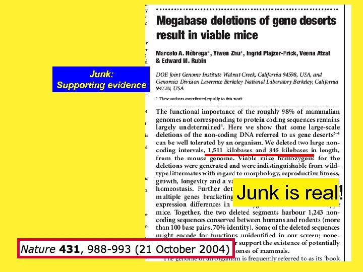 Junk: Supporting evidence Junk is real! 46