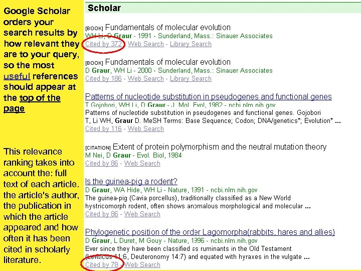 Google Scholar orders your search results by how relevant they are to your query,
