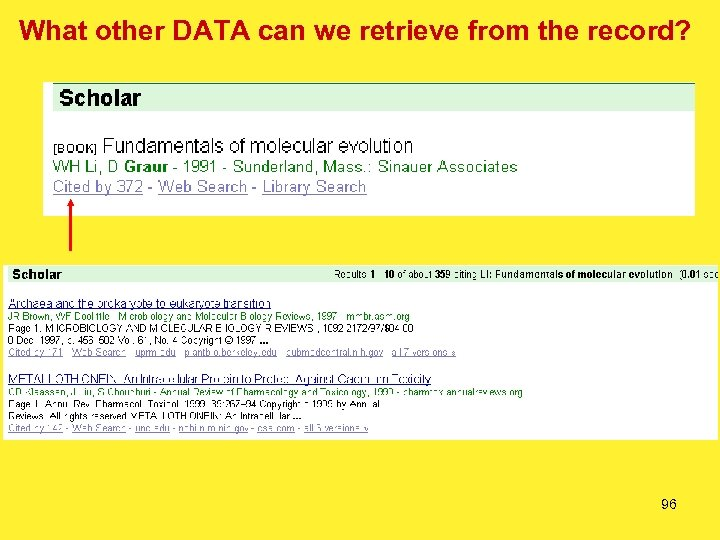 What other DATA can we retrieve from the record? 96