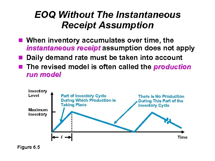 EOQ Without The Instantaneous Receipt Assumption When inventory accumulates over time, the instantaneous receipt