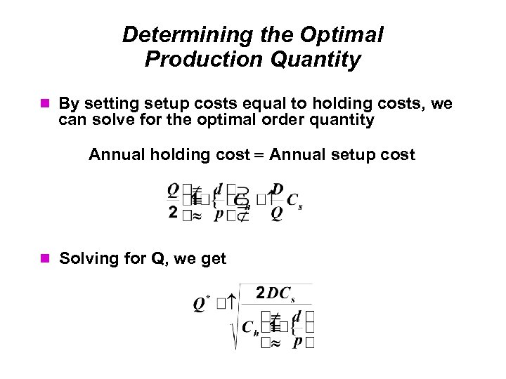 Determining the Optimal Production Quantity By setting setup costs equal to holding costs, we