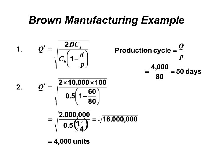 Brown Manufacturing Example 1. 2.