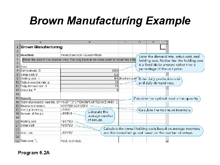Brown Manufacturing Example Program 6. 2 A