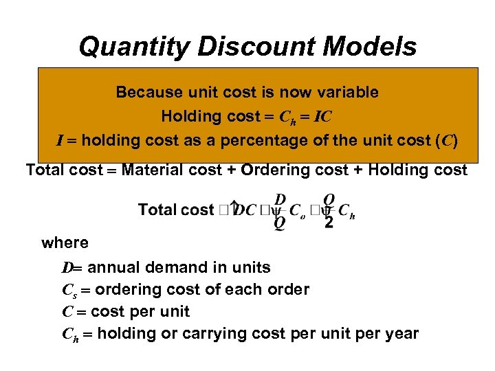 Quantity Discount Models Because unit cost is now variable Quantity discounts are commonly available