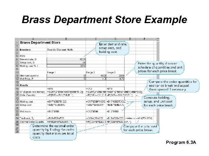 Brass Department Store Example Program 6. 3 A