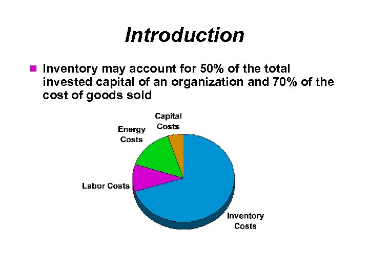 Introduction Inventory may account for 50% of the total invested capital of an organization