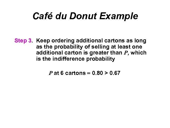 Café du Donut Example Step 3. Keep ordering additional cartons as long 3 as
